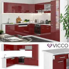 details zu vicco küchenzeile r line eckküche winkel küche einbau rot bordeaux hochglanz