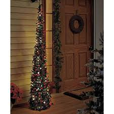 Affordable Collapsible 65 Lighted Christmas Trees In Green Red For Small Spaces With Timer