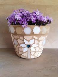 Mosaic Flower Pot Set Small Rustic Indoor Planters Succulent
