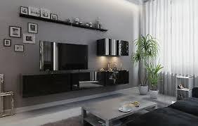 wohnwand vex 7 anbauwand mediawand weiß schwarz hochglanz tv