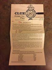 1963 Clue Board Game Replacement Pieces Parts INSTRUCTIONS Paper