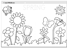 Spring Pictures Coloring Pages Colouring 18 Free Printable