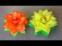 Paper Flowers Rose Diy Tutorial Easy For Childrenorigami Flower Folding 3d Kidsfor Beginner