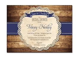 Rustic Bridal Shower Invitation Navy Blue Wood Lace Baby
