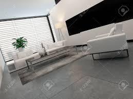 moderne wohnzimmer innenraum in weiß grau und schwarz in minimalistischen stil mit geschlossenen jalousien am fenster eine beleuchtete stehle und