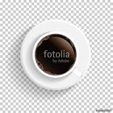 Realistic Top View White Coffee Cup And Saucer Isolated On Transparent Background Vector EPS10 Illustration