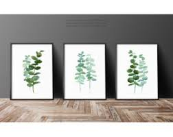 Set Of 3 Plants Watercolor Painting Botanical Illustration Mint Art Print Eucalyptus Leaves
