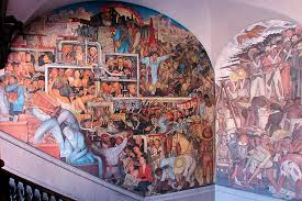 Famous Mexican Mural Artists by The National Palace Or Palacio Nacional Diego Rivera Murals