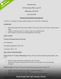College Student Resume Marketing Assistant