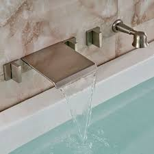 nickel wall mount waterfall bathtub faucet with handheld shower