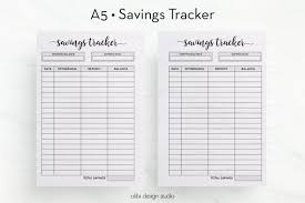 Savings Tracker Printable O A5 Inserts Saving Planner Money Organizer Goal