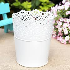 Free Shipping Rustic Vase White Embossed Planter Tin Bucket Flower Desktop Organizer Pen Holer Pack Of 2pcs 2 Sizes In Pots Planters From Home