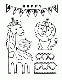 Happy Birthday And Funny Animals Coloring Page For Kids Holiday