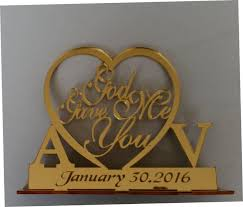 Rustic Wedding Cake Topper God Gave Me You CakeTopper Unique Initial Monogram