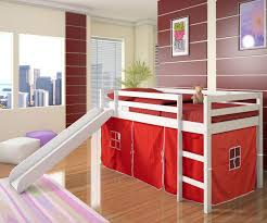 low loft bed with red tent u0026 slide white bedroom furniture beds