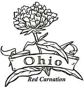Red Carnation And Cardinal Ohio State Flower Brid Coloring