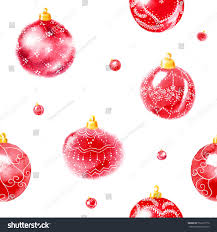 Seamless Pattern From Big And Small Red Christmas Tree Balls With Ornaments Watercolor Painting