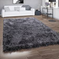 hochflor teppich shaggy für wohnzimmer mit glitzer garn grau anthrazit