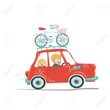 Happy Father And His Child Traveling By Car With Bike Mounted On The Roof Vector