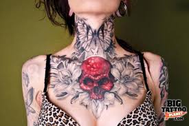 Skull Butterfly Tattoo On Front Neck Photo 3