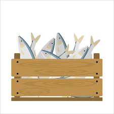 Download Fish In Crate Stock Vector Image Of Marketable Label