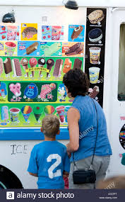 Mother And Son Choosing Snack At Ice Cream Truck. St Paul Minnesota ...
