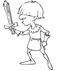 Knight Coloring Page Squire With Wooden Sword