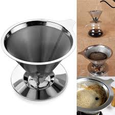 Online Shop DIY Stainless Steel Pour Over Cone Coffee Dripper Double Layer Mesh Filter Paperless Kitchen Brewing Helper