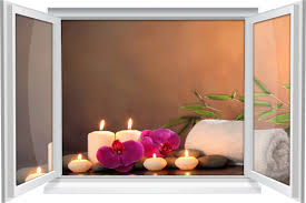 wandtattoo wandbild fenster wellness spa blüte kerzen wohnzimmer deko
