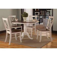 5 Piece Espresso And Distressed Almond Dining Set