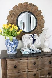Foyer Decor Wood Sunburst Mirror