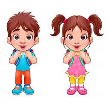 Funny Young Boy And Girl Students Vector Cartoon Isolated Characters