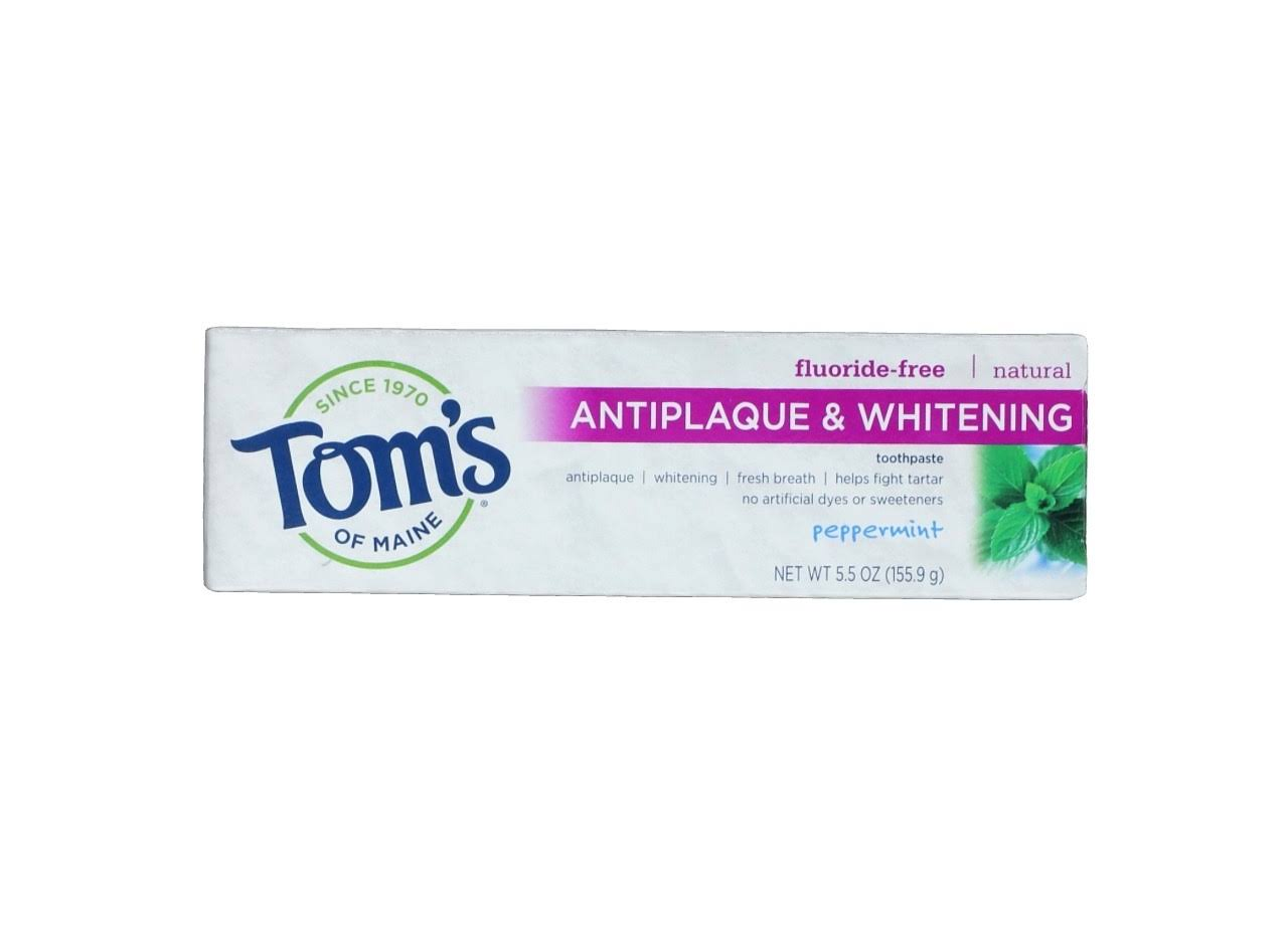Tom's of Maine Fluoride Free Antiplaque and Whitening Natural Toothpaste - Peppermint, 5.5oz