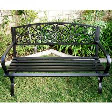 outdoor bench patio metal garden furniture deck porch seat photo