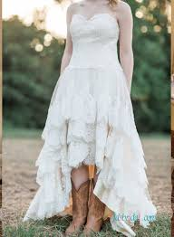 Rustic Wedding Strapless Bohemian High Low Dress With Tiered Skirt Boots Girl