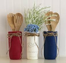 Mason Jar Utensil Holder Set 3 Piece 4th Of July Red White And Home Decor