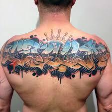 Street Art Wildstyle Graffiti Mens Back Tattoo