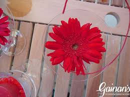Red Gerbera Daisy In Martini Glass With Wire Accent