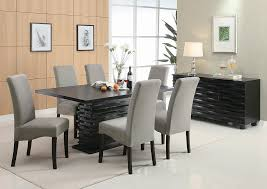 Stanton Black Dining Table W 6 Grey Chairs ServerCoaster Furniture