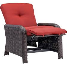 Hanover Strathmere Crimson Red Outdoor Reclining Patio Arm Chair