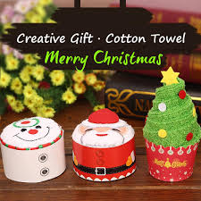 Christmas Snowman Santa Claus Tree Cake Modelling Cotton Towel Creative Gifts