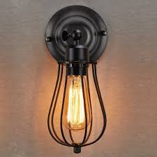 Lightess Vintage Industrial Edison Cage Wall Sconce Light Rustic Metal Shade Lamp Fixture Black Amazoncouk Lighting