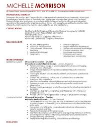 Ultrasound Resume Exles by Ultrasound Technician Cv Exle For Healthcare Livecareer