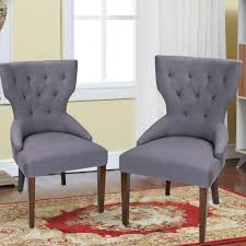 Adeco Gray Fabric European Style Armless Living Room Side Chair / Dining  Chair With Birch Legs(Set Of 2) [CH0171-2]