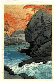 HASUI Japanese Woodblock Print River Rapids In Autumn 1950