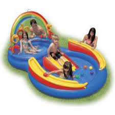 Intex Inflatable PoolWater Play Center With Slide And Games For Kids