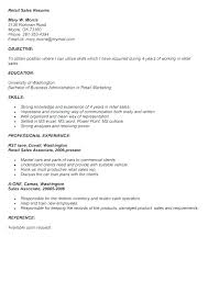 Sample Resume For Retail Job Resumes A Examples Of