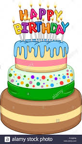 Vector illustration of 3 floors birthday cake with Happy Birthday text and candles on top