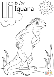 Iguana Coloring Page Letter I Is For Free Printable Pages Sheets
