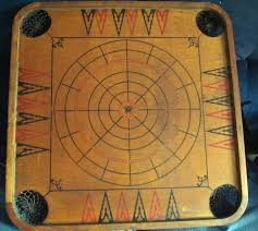 Antique Large Wooden Two Sided Carrom Chess Checkers Game Board